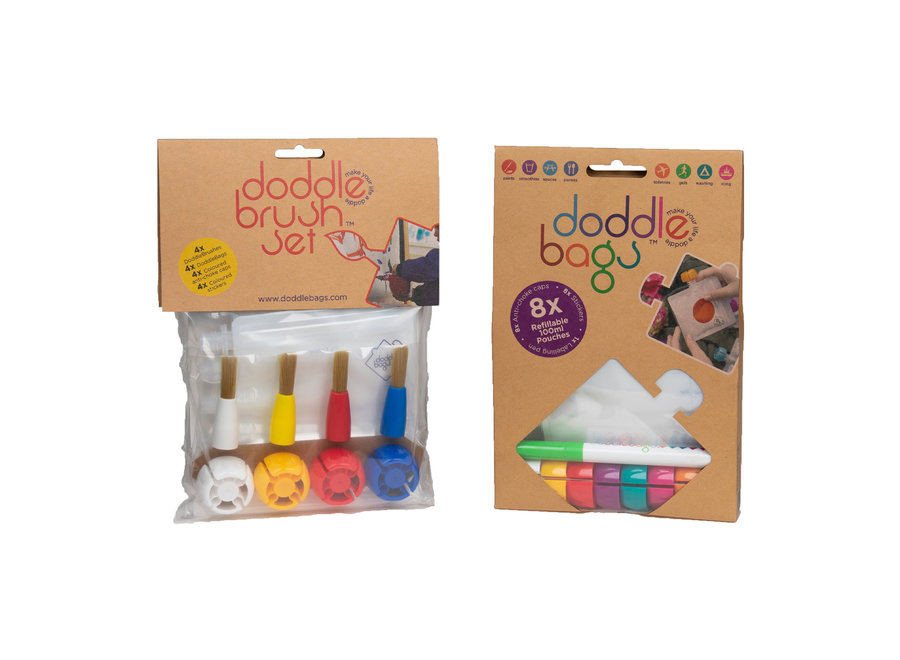 Box - DoddleBags squeeze bags 100 ml + DoddleBrush brushes