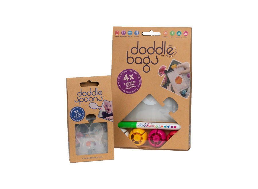 Box - DoddleBags knijpzakjes 200 ml + DoddleSpoon lepels