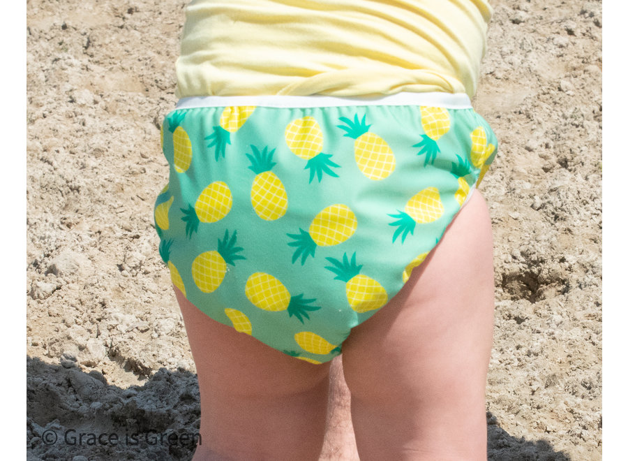 Washable Swim Nappy - Green Pineapple