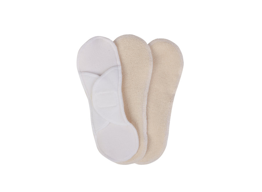 Bamboolik washable panty liners natural - with snaps - 3 in a box - Copy