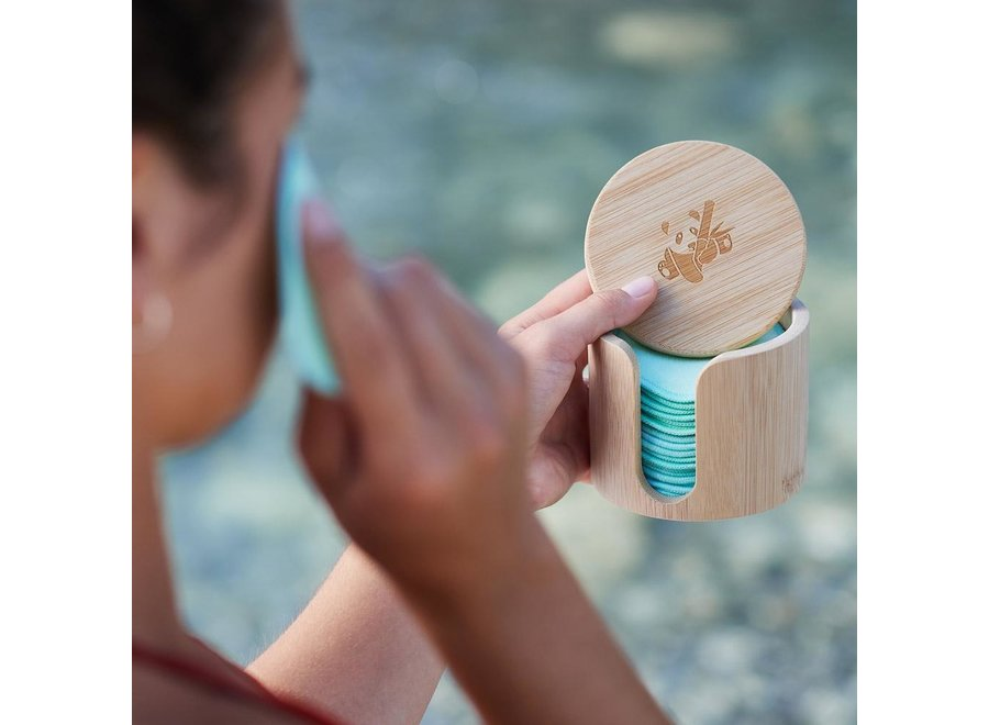 Bamboo holder + 18 Pandoo cleaning pads washable from bamboo