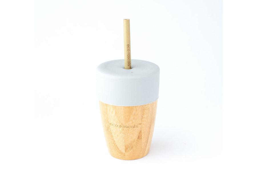 Bamboe beker met 2 bamboe rietjes - 6 kleuren - Melamine vrij