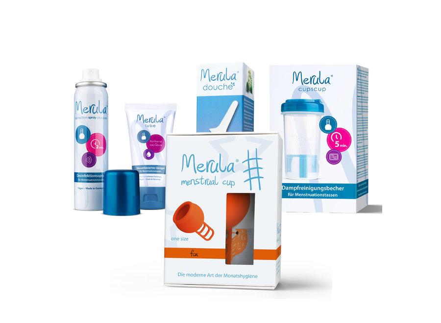 Starterskit - Merula Cup + Douche + Glijmiddel + Spray + CupsCup reiniger - 7 Kleuren