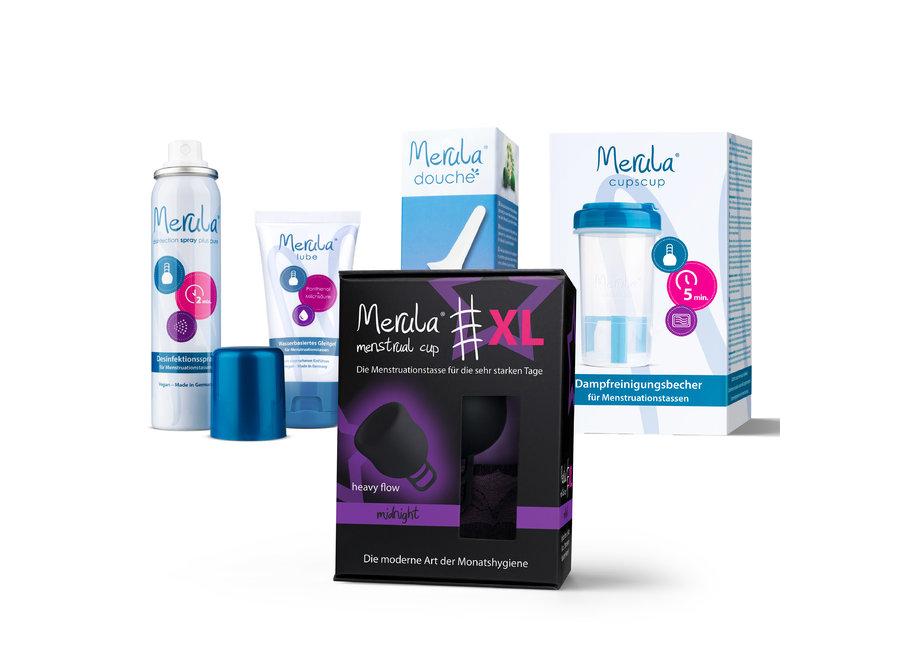 Starterskit - Merula Cup XL + Douche + Glijmiddel + Spray + CupsCup reiniger - 7 Kleuren