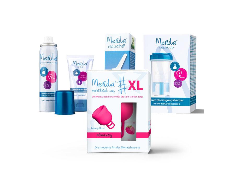 Starterskit - Merula Cup XL + Douche + Glijmiddel + Spray + CupsCup reiniger -7 Kleuren