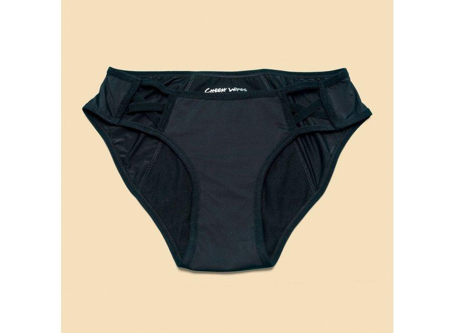 Starter kit - 4 x Cheeky Wipes menstrual underwear Feeling Pretty + Sassy + Sporty + Comfy + wetbag - black