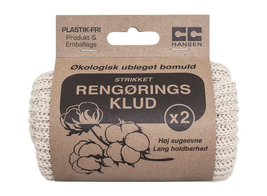 Cleaning wipes knitted - 2 pieces - 100% unbleached organic cotton