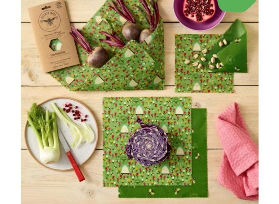 Beeswax food wraps large kitchen pack - land - 5 pieces