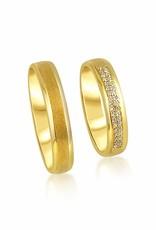 18 karat yellow gold wedding rings with matt and shiny finish with 0.09 ct diamonds