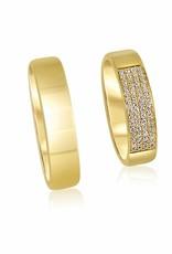 18 karat yellow gold wedding rings with shiny finish with 0.17 ct diamonds