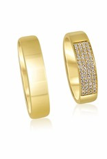 18kt yellow gold wedding rings with shiny finish with 0.17 ct diamonds