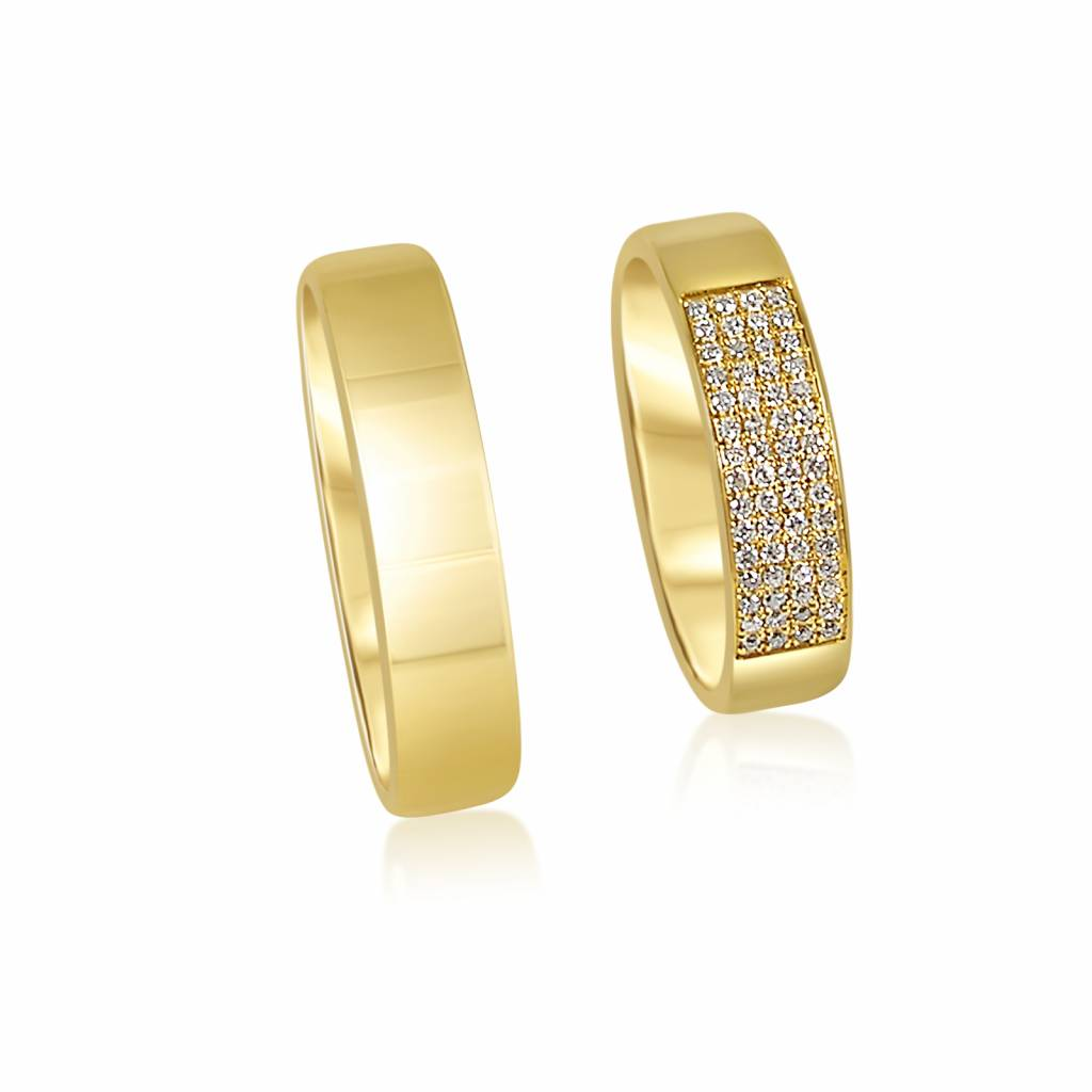 Gold Wedding Rings.18 Karat Yellow Gold Wedding Rings With Shiny Finish With 0 17 Ct Diamonds