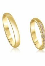 18kt geel goud trouwringen met glanzend afwerking met 0.18 ct diamanten
