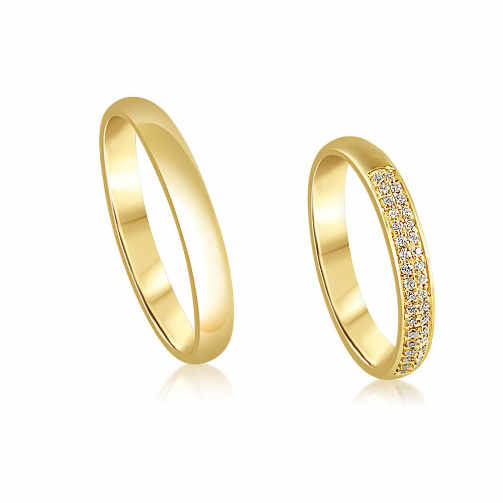 18kt yellow gold wedding rings with shiny finish with  0.18 ct diamonds