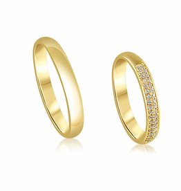 18 karat yellow gold wedding rings with shiny finish with  0.18 ct diamonds