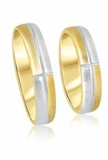 18 karat white and yellow gold wedding rings with matt finish