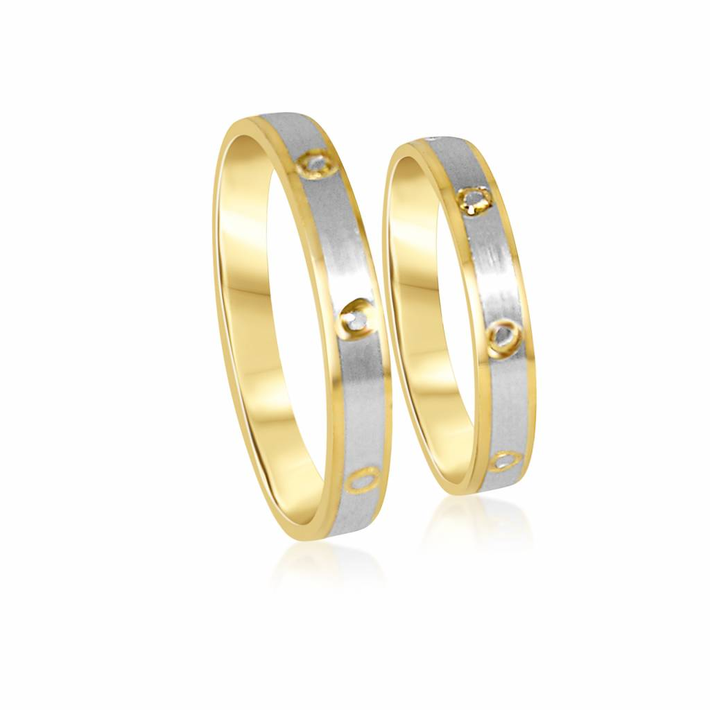 White Gold Wedding Rings.18 Karat White And Yellow Gold Wedding Rings With Matt And Shiny Finish