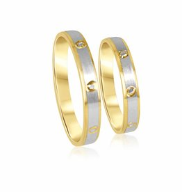 18 karat white and yellow gold wedding rings with matt and shiny finish