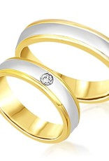18 karat white and yellow gold wedding rings with matt and shiny finish with 0.05 ct diamond