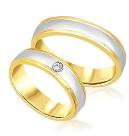 18 karaat wit en geel goud trouwringen met mat en glanzend  afwerking met 0.05 ct diamant