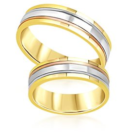 18 karat white and yellow and rose gold wedding rings with matt and shiny finish