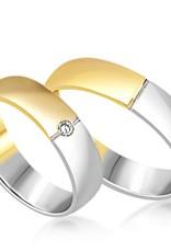 18 karaat wit en geel goud trouwringen met mat en glanzend  afwerking met 0.03 diamant