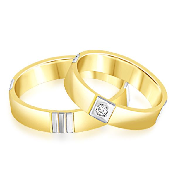 18 karat white and yellow gold wedding rings with matt and shiny finish with 0.03 ct diamond