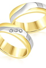 18 karat white and yellow gold wedding rings with matt and shiny finish with 0.06 ct diamonds