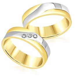 18 karat white and yellow gold wedding rings with matt and shiny finish with 0.06 ct diamonds