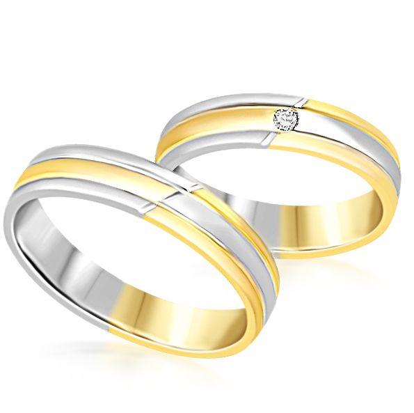 18 karaat wit en geel goud trouwringen met mat en glanzend  afwerking met 0.04 ct diamant