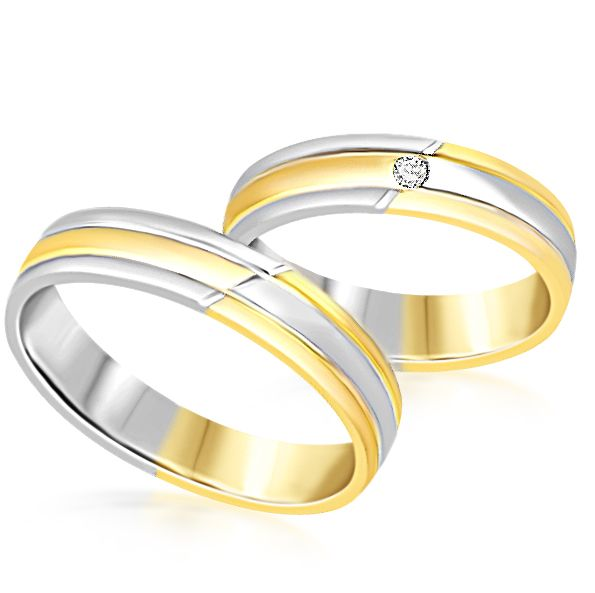 18 karat white and yellow gold wedding rings with matt and shiny finish with 0.04 ct diamond