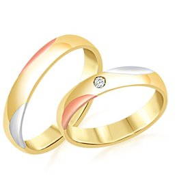 18 karat white and yellow and rose gold wedding rings with matt and shiny finish with 0.04 ct diamond