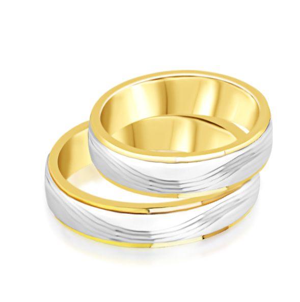 18 karaat wit en geel goud trouwringen met mat en glanzend  afwerking
