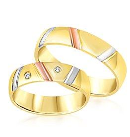 18 karat white and yellow and rose gold wedding rings with matt and shiny finish with 0.06 ct diamonds