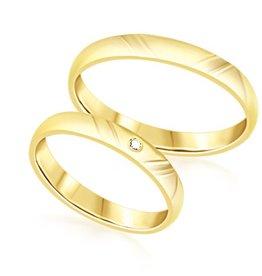 18 karat yellow gold wedding rings with matt and shiny finish with 0.02 ct diamond