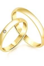 18 karat yellow gold wedding rings with shiny finish with 0.02 ct diamond