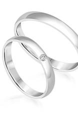 18 karat white gold wedding rings with matt finish with 0.03 ct diamond