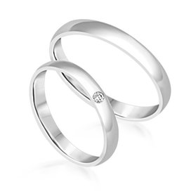 18 karat white gold wedding rings with matt finish with 0.03 ct diamond