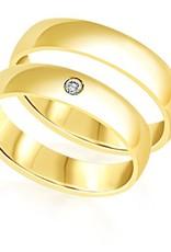 18 karat yellow gold wedding rings with shiny finish with 0.05 ct diamond