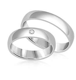 18 karat white gold wedding rings with shiny finish with 0.03 ct diamond