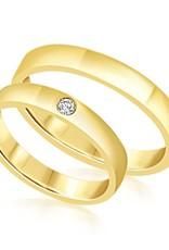 18 karaat geel goud trouwringen met glanzend  afwerking met 0.04 ct diamant