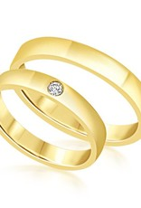 18 karat yellow gold wedding rings with shiny finish with 0.04 ct diamond