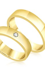 18 karat yellow gold wedding rings with shiny finish with 0.04 ct diamond