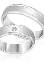 18 karat white gold wedding rings with matt and shiny finish with 0.04 ct diamond