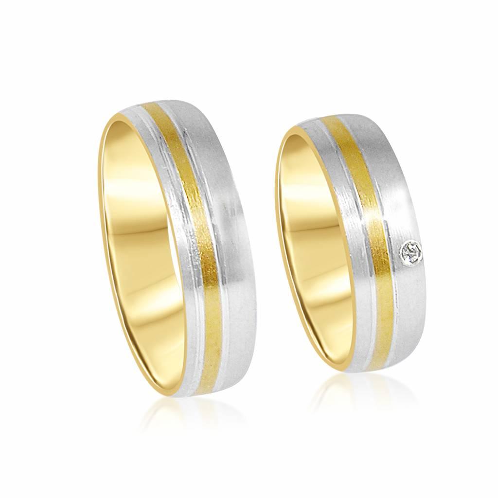 18 karat white and yellow gold wedding rings with matt and shiny finish and 0.02 ct diamond