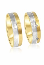 18 karat yellow & white gold wedding rings with mat finish with  0.16 ct diamonds