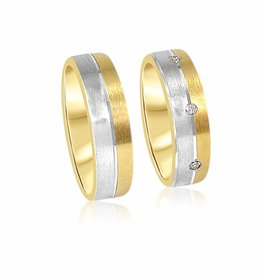 18 karat yellow gold wedding rings with mat and shiny finish with  0.16 ct diamonds