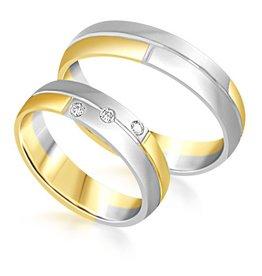 18 karaat wit en geel goud trouwringen met mat afwerking met 0.06 ct diamanten