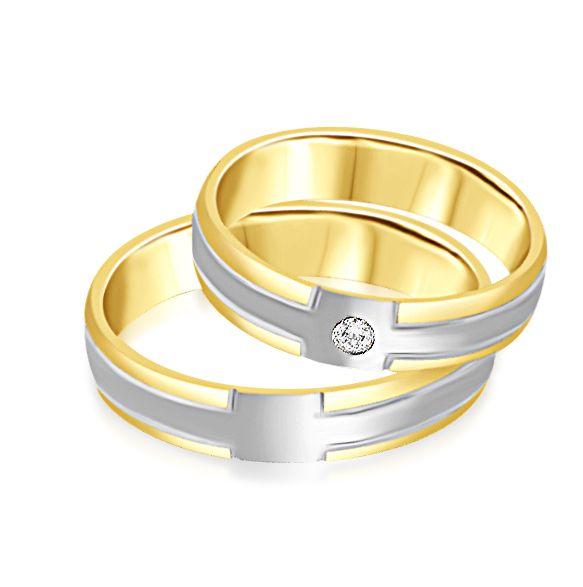 18 karaat wit en geel goud trouwringen met mat en glazend afwerking met 0.04 ct diamant