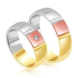 18 karaat wit en geel en roze goud trouwringen met mat en glanzend  afwerking met 0.05 ct diamant